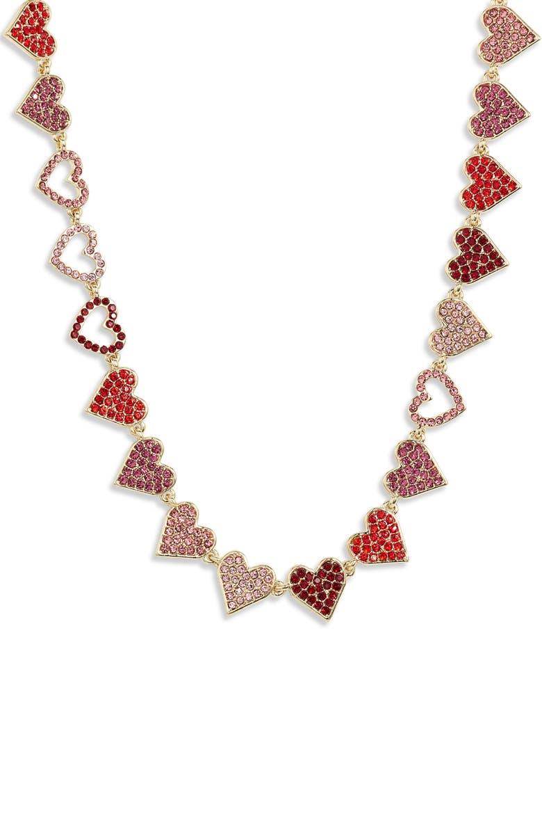STELLA + RUBY Heart of Hearts Necklace, Main, color, GOLD/ FUSCHIA