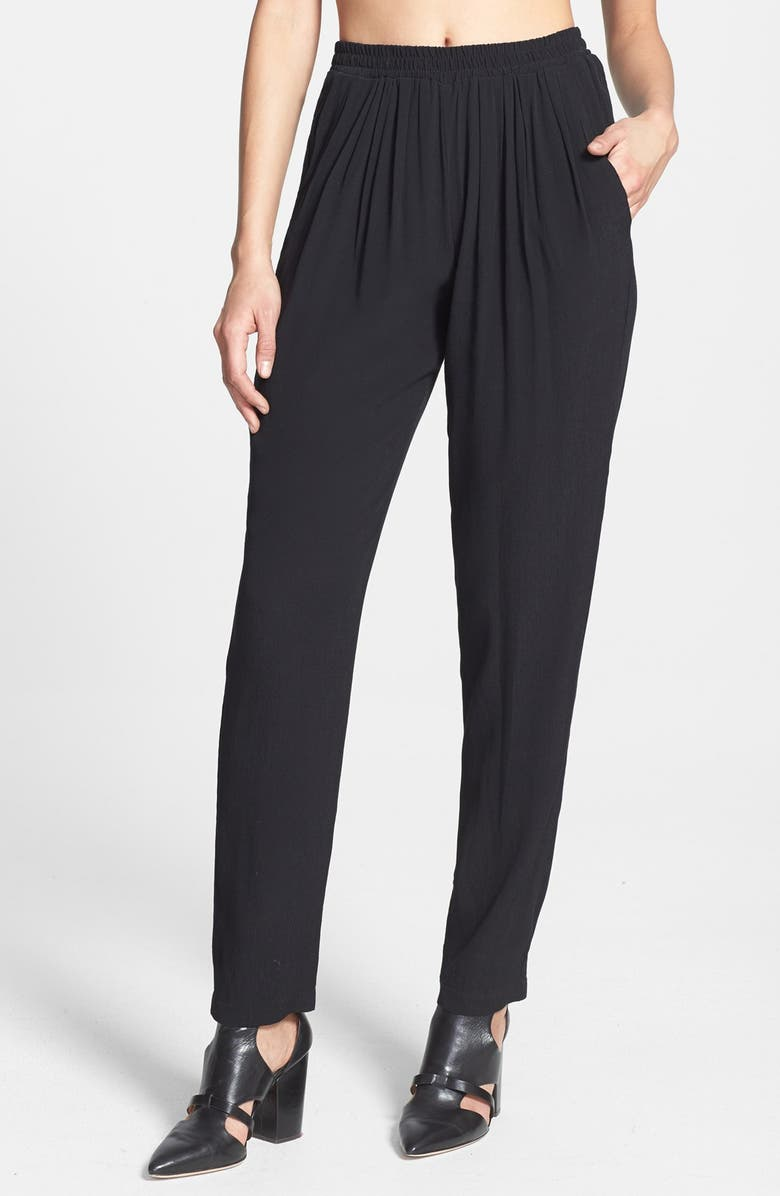 WAYF Front Pleat Crepe Track Pants, Main, color, 001