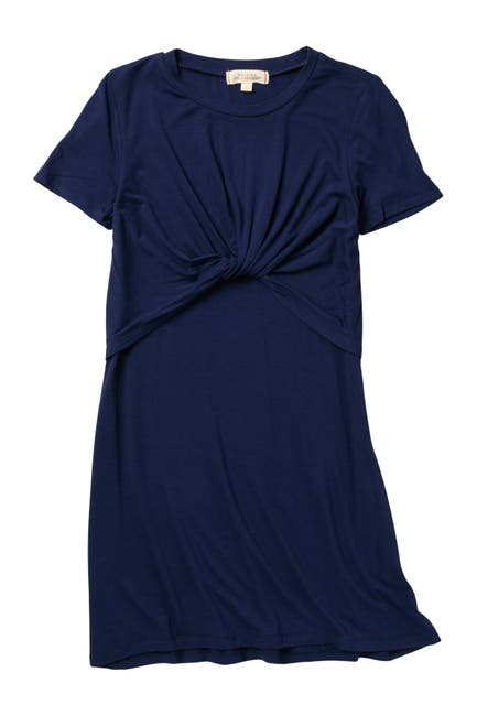 Image of WALKING ON SUNSHINE Knot Twist Front T-Shirt Dress
