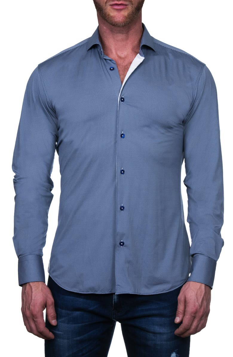 MACEOO Einstein Stacked Button-Up Shirt, Main, color, BLUE