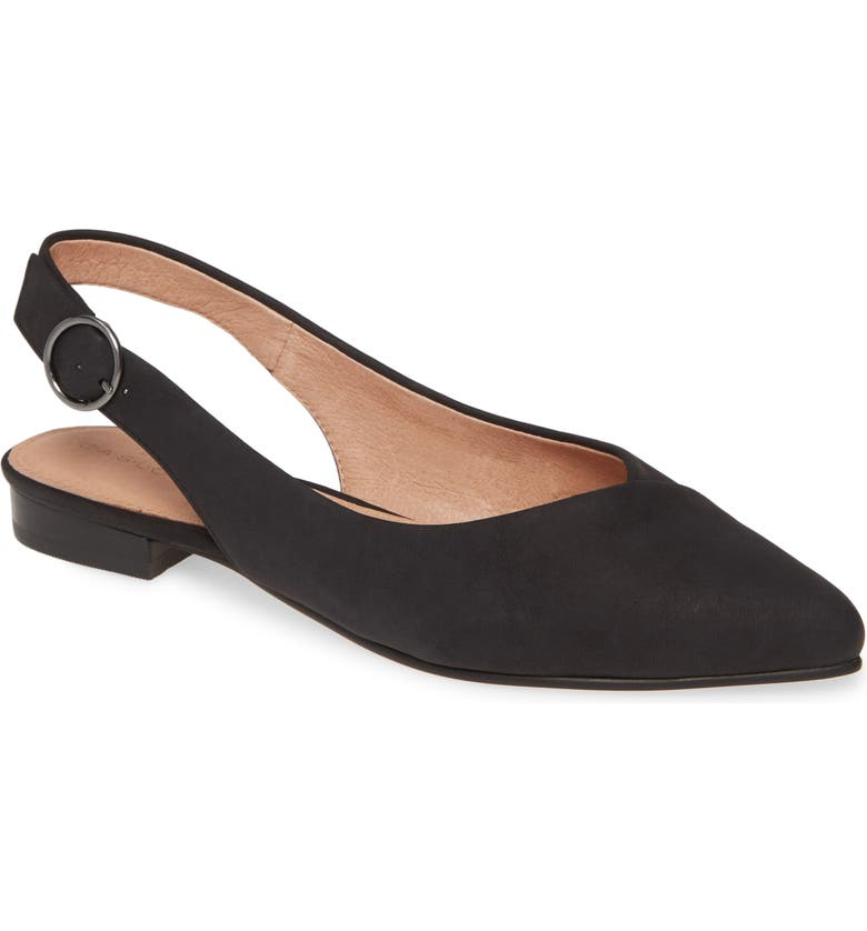 CASLON<SUP>®</SUP> Lexie Pointed Toe Slingback Flat, Main, color, BLACK OILED NUBUCK