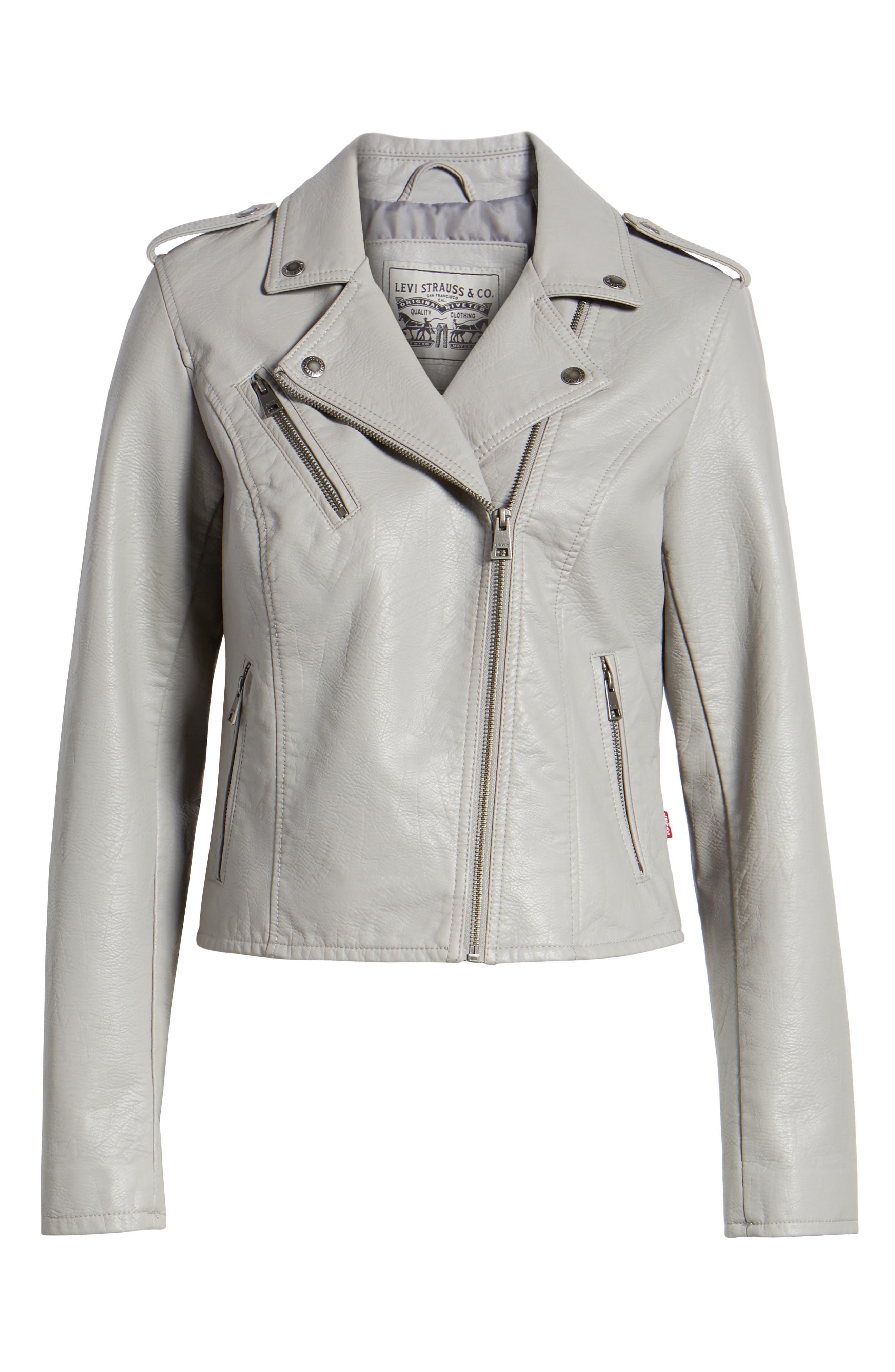 ,                             Faux Leather Moto Jacket,                             Alternate thumbnail 7, color,                             030