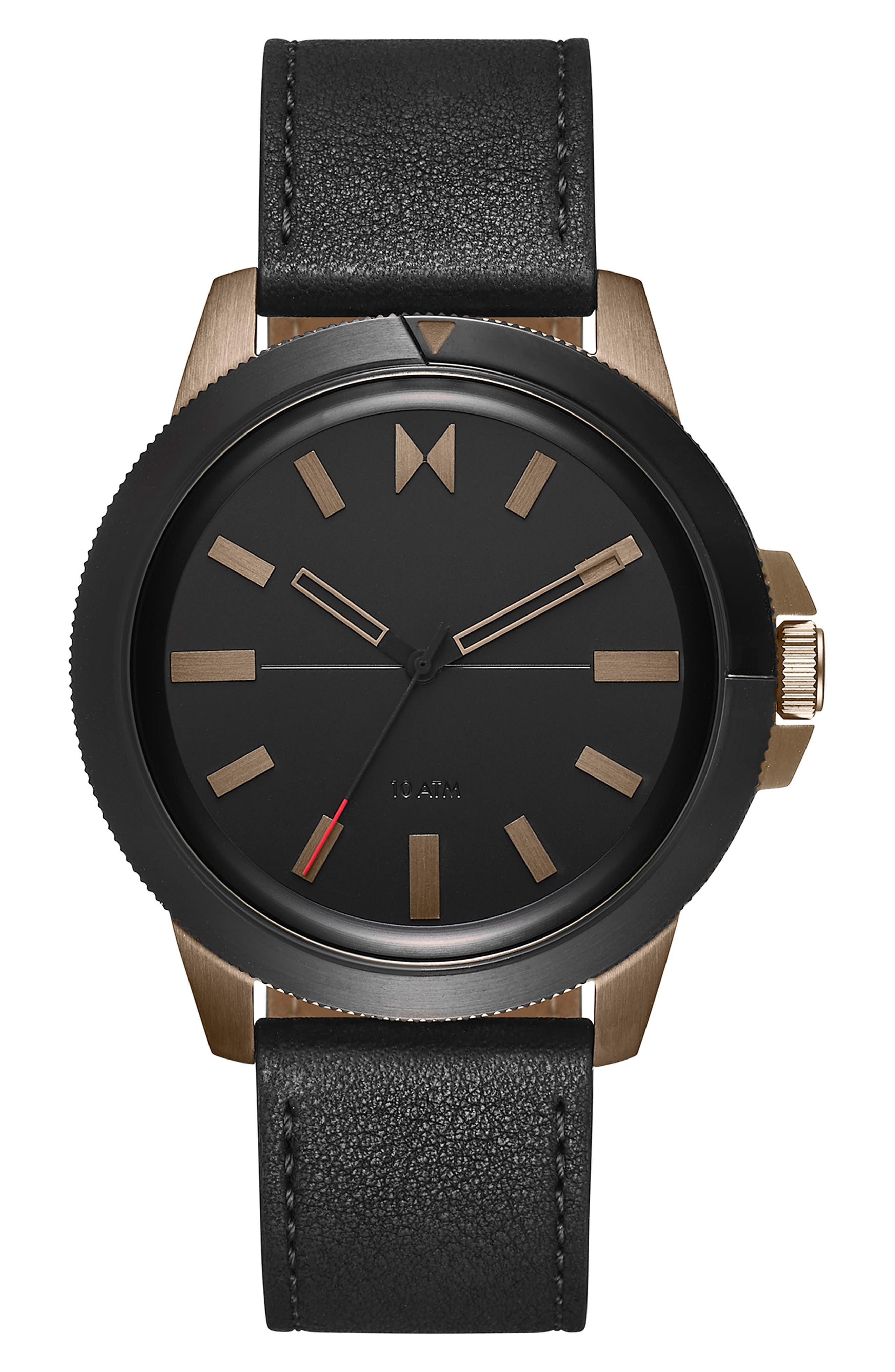 Minimal Sport Leather Strap Watch