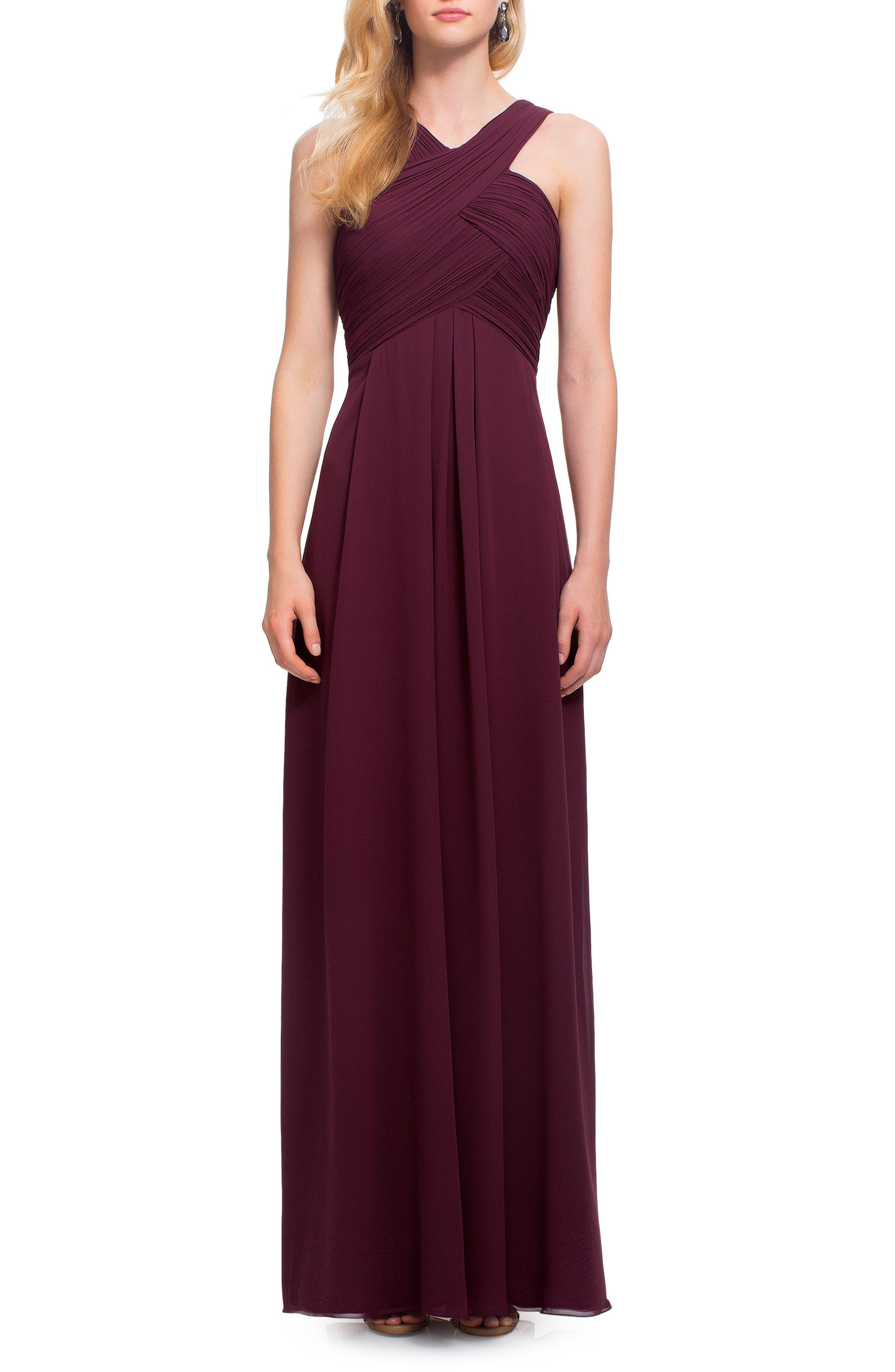 #levkoff Crisscross Bodice Chiffon Gown, Burgundy