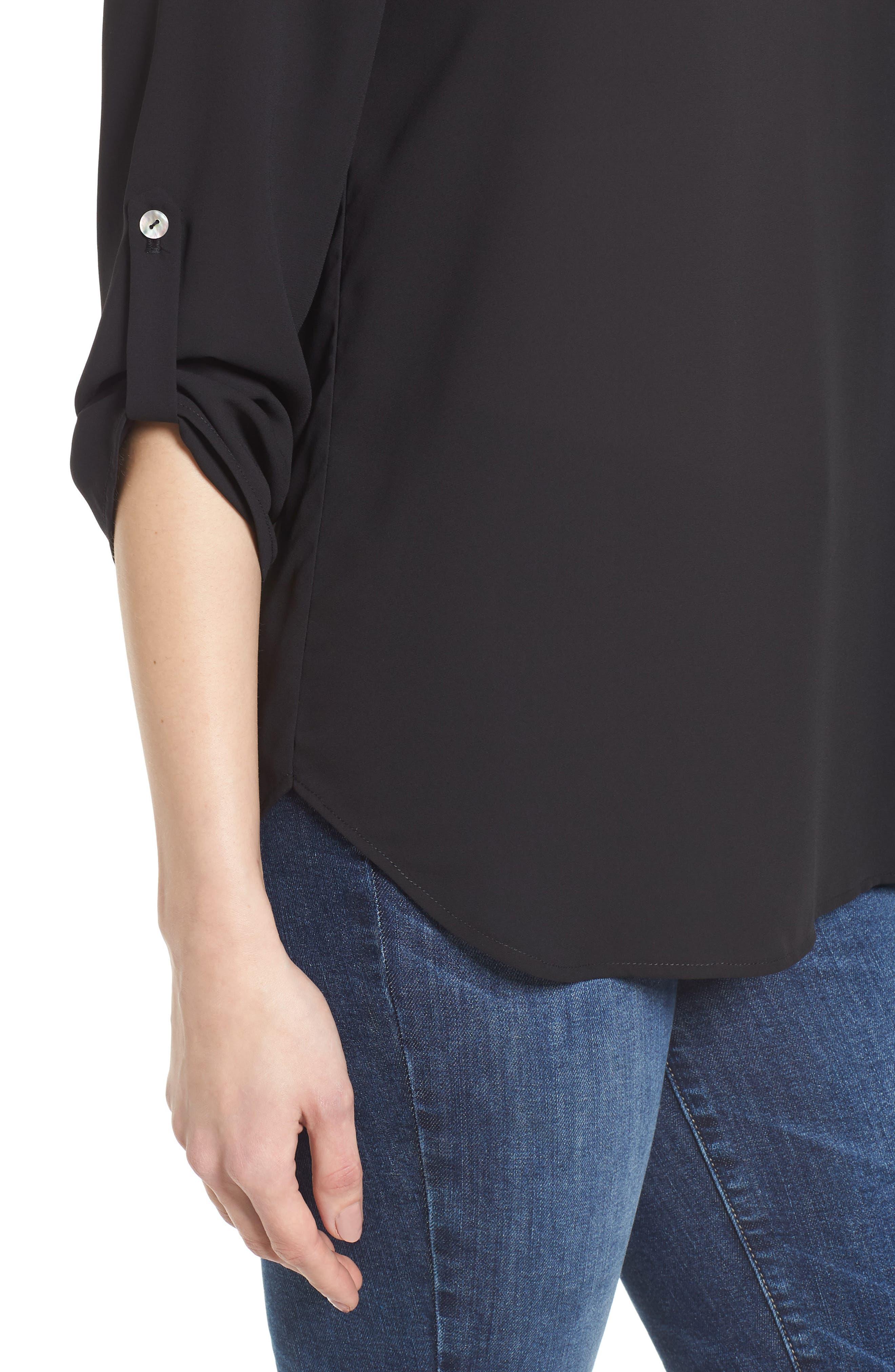 ,                             Roll-Tab Sleeve Tunic,                             Alternate thumbnail 5, color,                             BLACK
