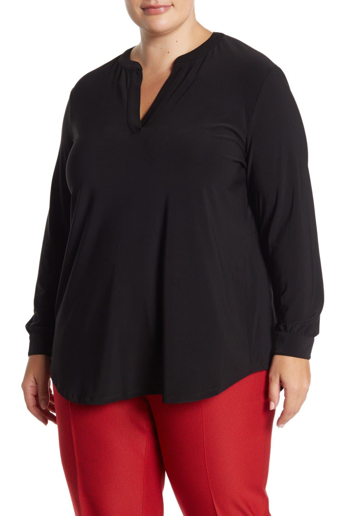 Image of Anne Klein Long Sleeve Split Neck Tunic