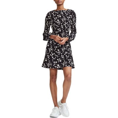 Maje Rockiz Daisy Print Long Sleeve Dress, Black