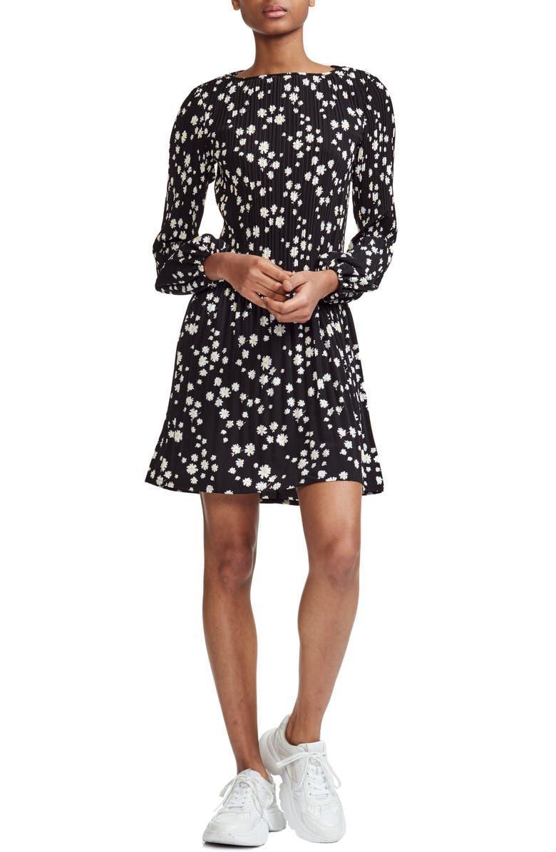 MAJE Rockiz Daisy Print Long Sleeve Dress, Main, color, 001
