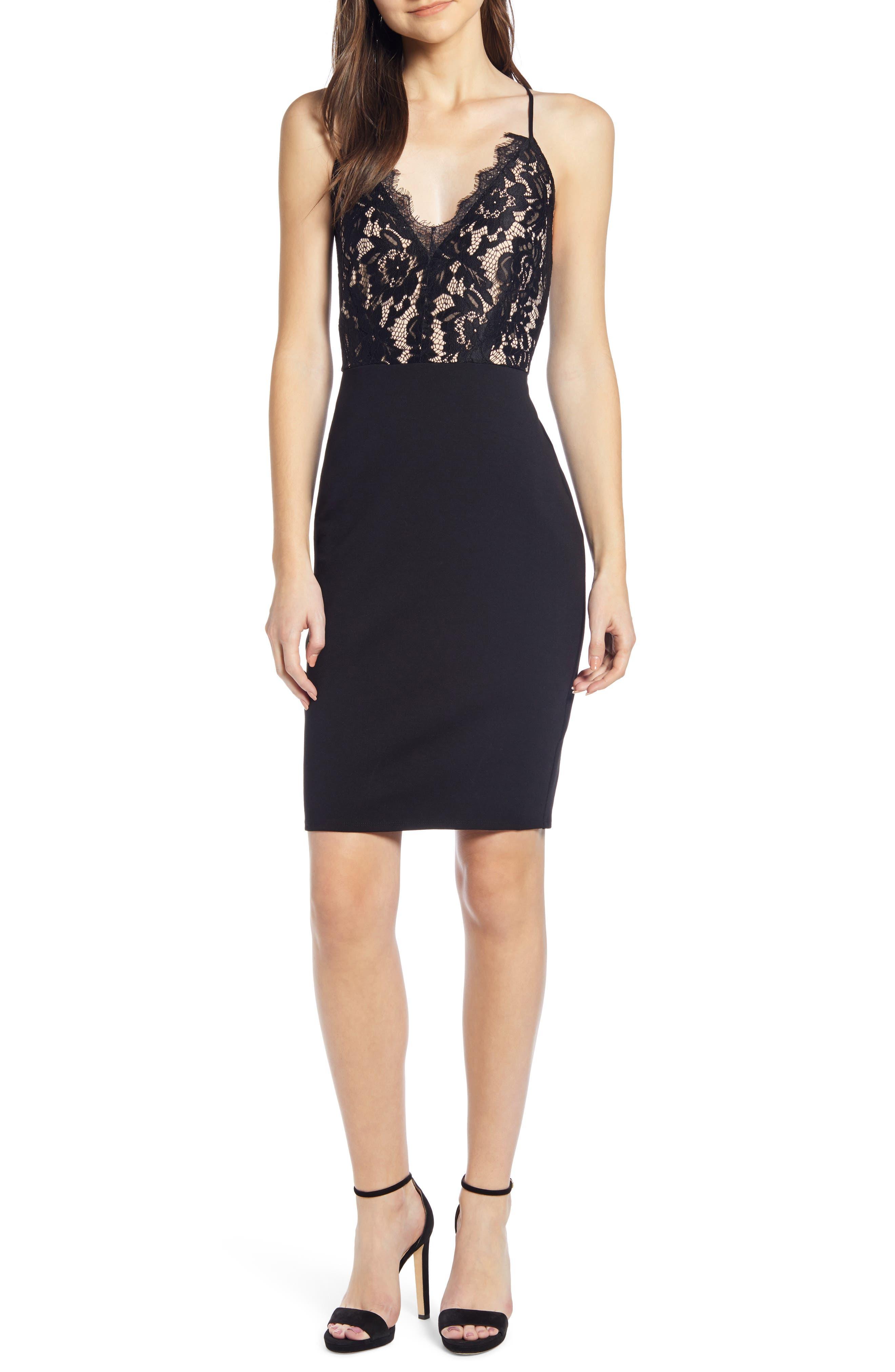 Leith Lace Bodice Sheath Dress, Black