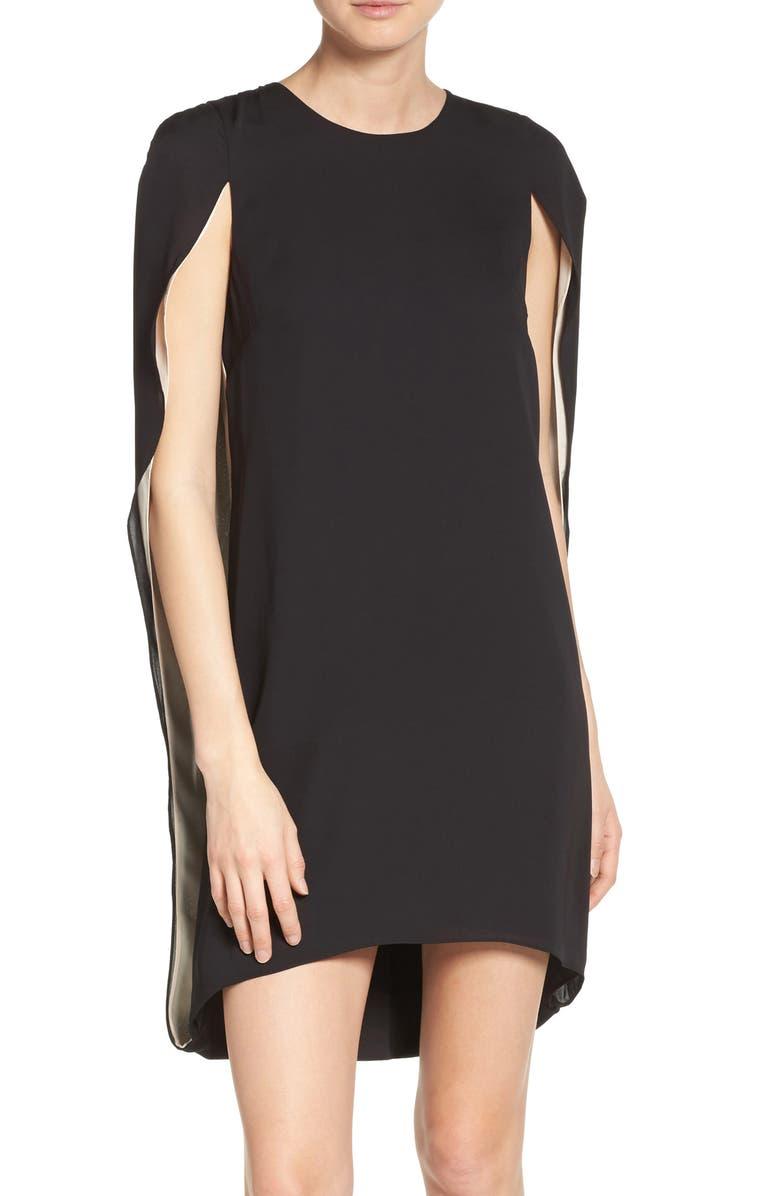 HALSTON HERITAGE Cape Dress, Main, color, 009