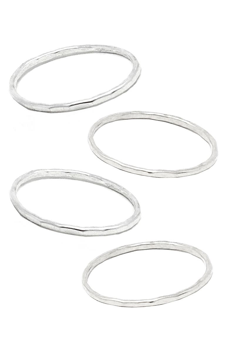 ABLE Set of 4 Hammered Stacking Rings, Main, color, SILVER