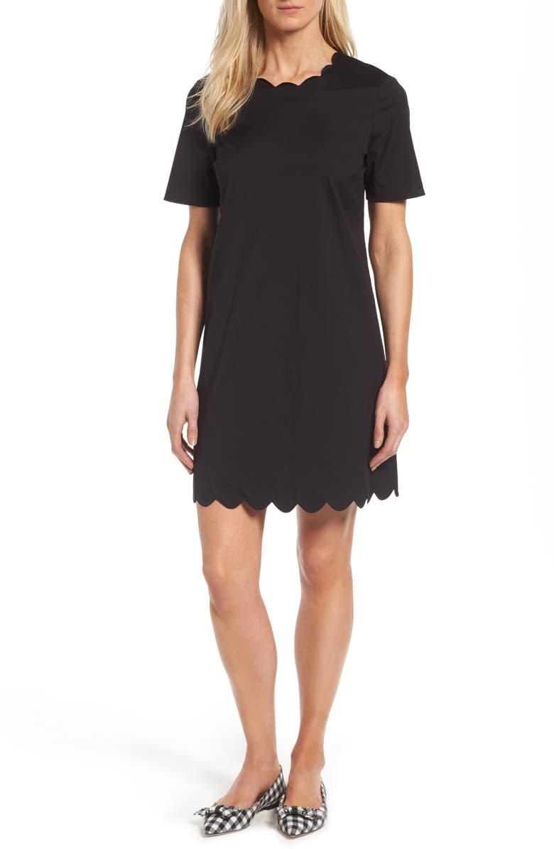 HALOGEN<SUP>®</SUP> Scalloped Shift Dress, Main, color, 001