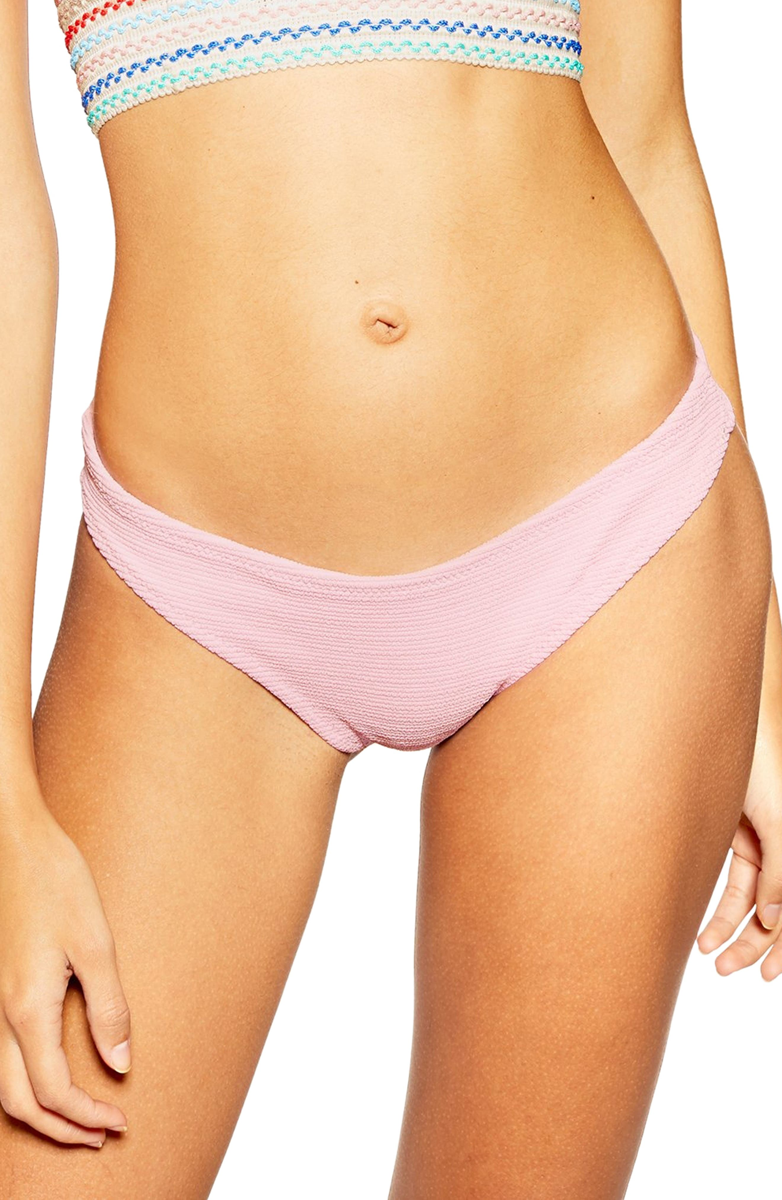 Topshop Crinkle Bikini Bottoms, US (fits like 10-12) - Pink