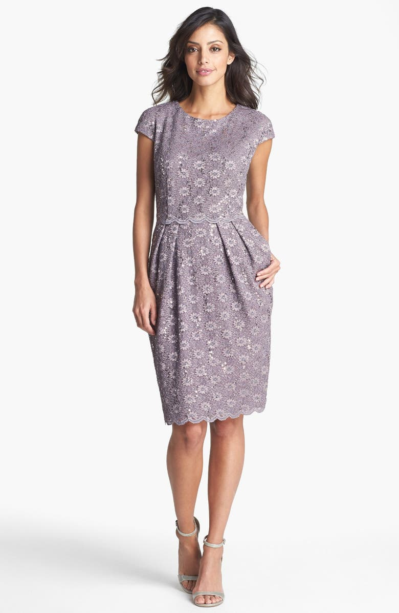 ALEX EVENINGS Sequin Lace Overlay Sheath Dress, Main, color, 031