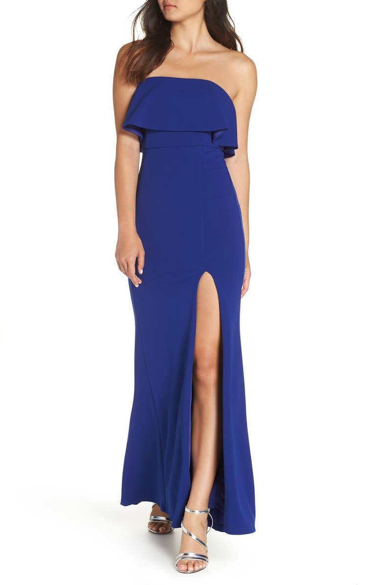 LULUS Off the Shoulder Maxi Gown, Main, color, COBALT