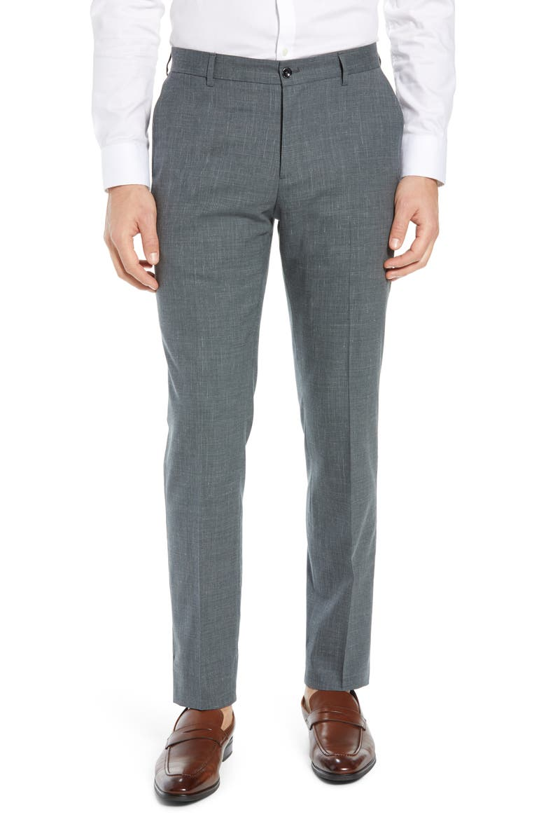 NORDSTROM SIGNATURE Flat Front Stretch Solid Wool & Linen Trousers, Main, color, 030