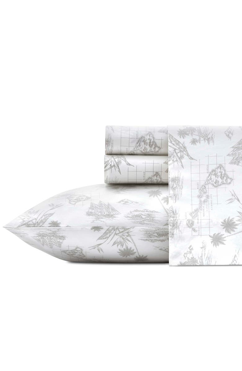 TOMMY BAHAMA Vintage Map Set of 2 Pillowcases, Main, color, GREY