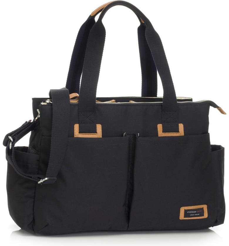 STORKSAK Diaper Shoulder Bag, Main, color, BLACK