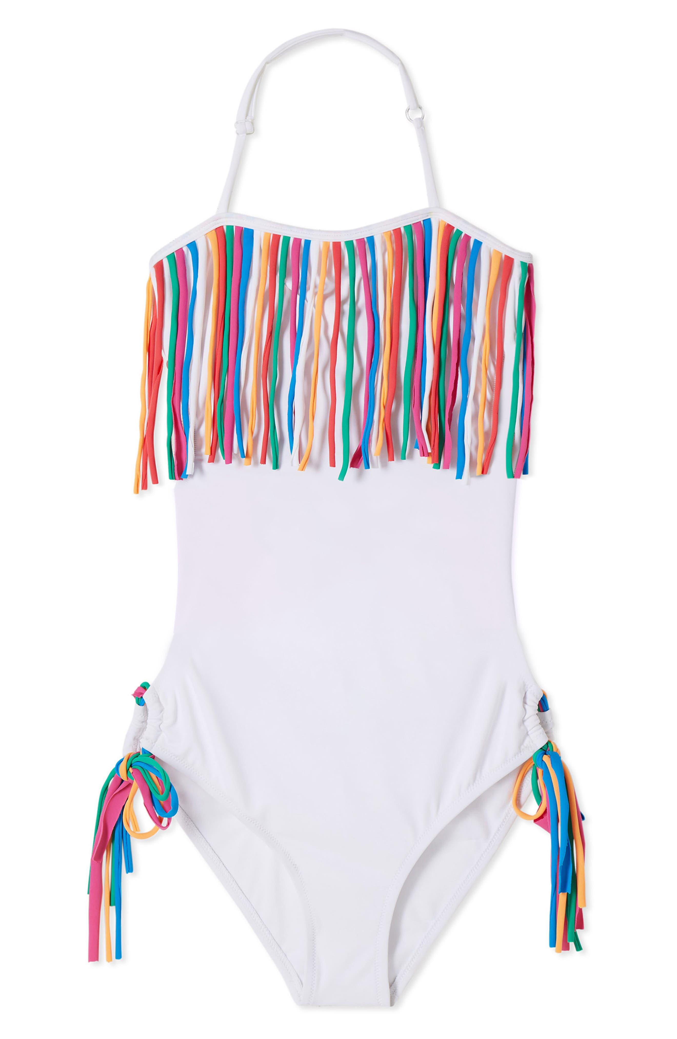 a51ff57139e Girl's Stella Cove Fringe One-Piece Swimsuit, T - White