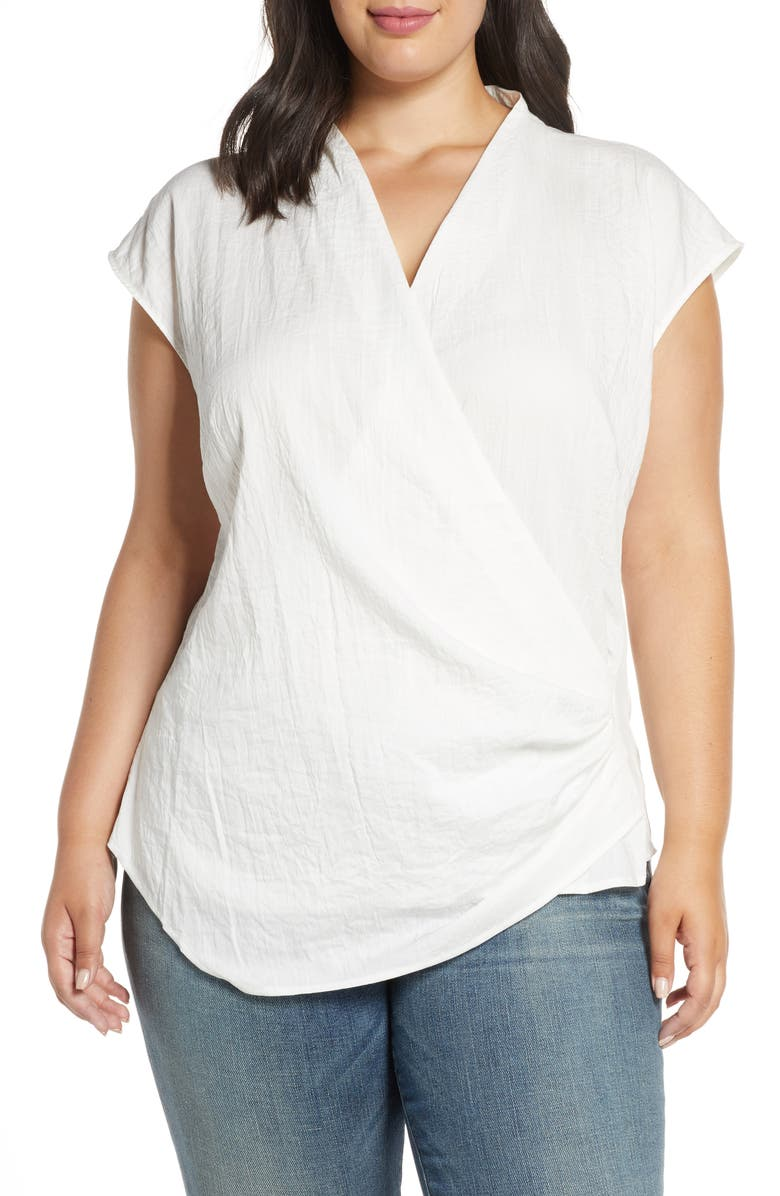 ELOQUII Drape Front Top, Main, color, 100