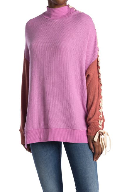 Image of Free People FP Movement Snow Drifts Lace-Up Sleeve Colorblock Sweater