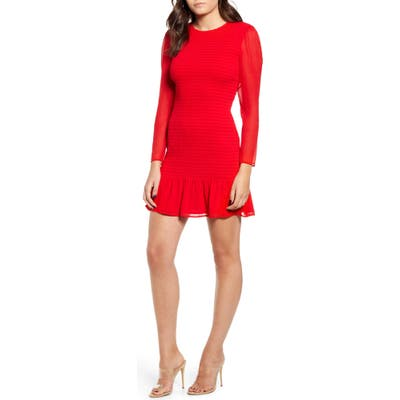 Leith Smocked Chiffon Long Sleeve Minidress, Red