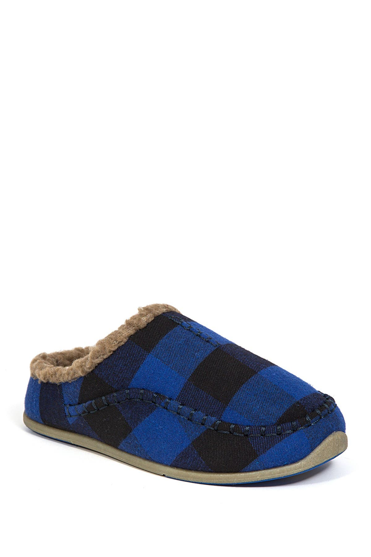 Image of Deer Stags Slipperooz Lil' Nordic Faux Shearling Lined Plaid Slipper