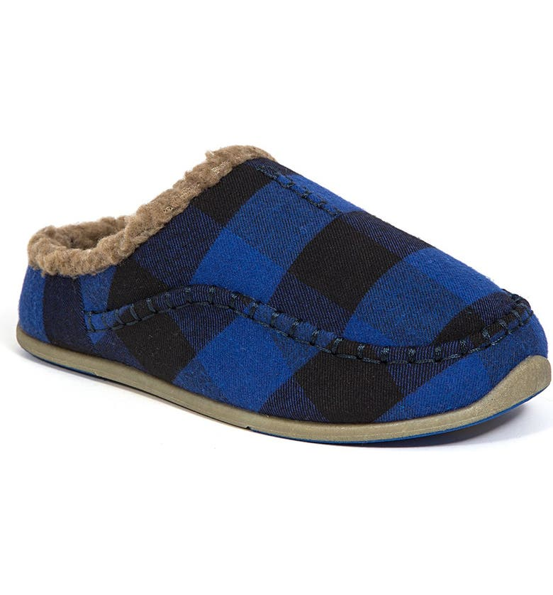 DEER STAGS Slipperooz Lil' Nordic Faux Shearling Lined Plaid Slipper, Main, color, BLUE/BLACK