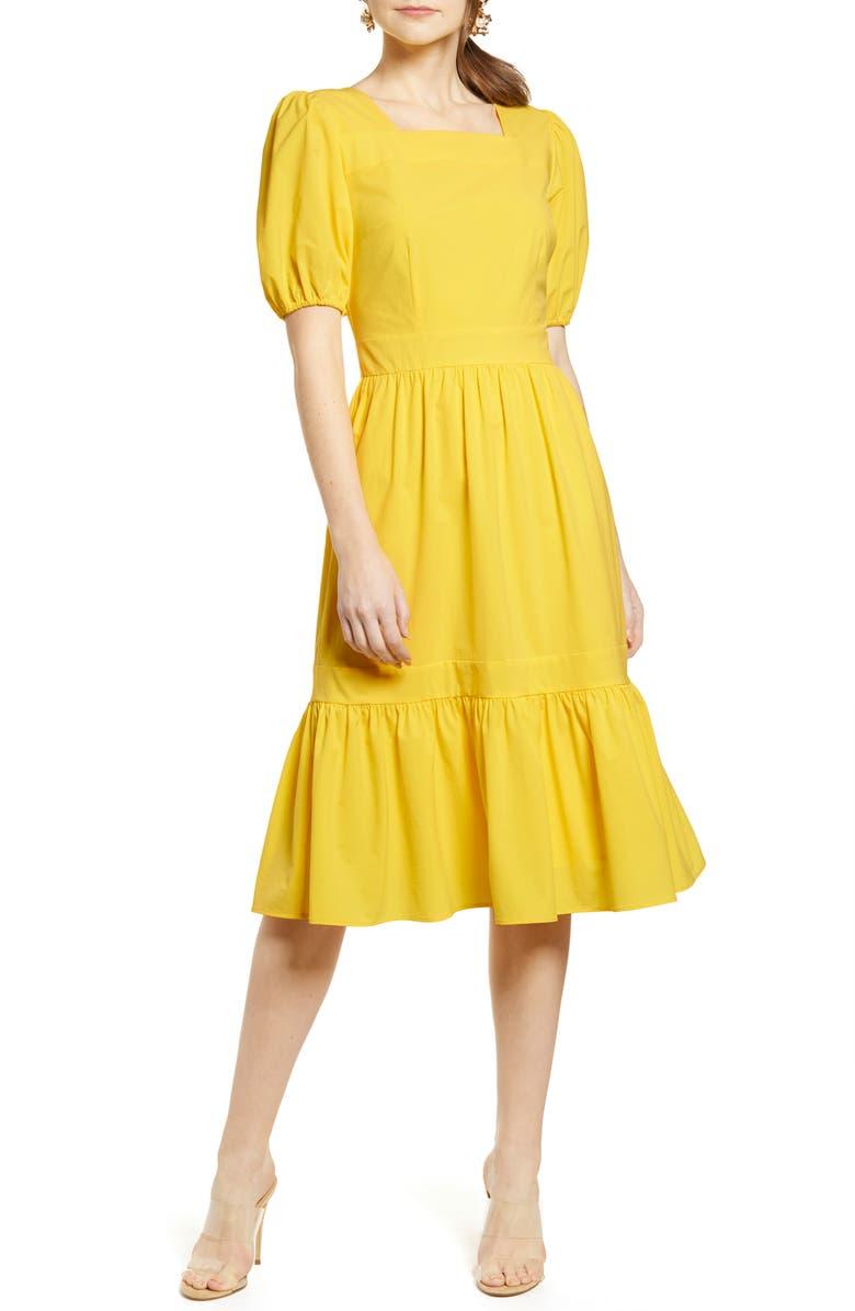 RACHEL PARCELL Puff Sleeve Dress, Main, color, YELLOW ZEST