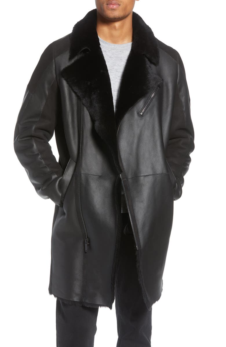 KARL LAGERFELD PARIS Genuine Shearling Leather Jacket, Main, color, BLACK