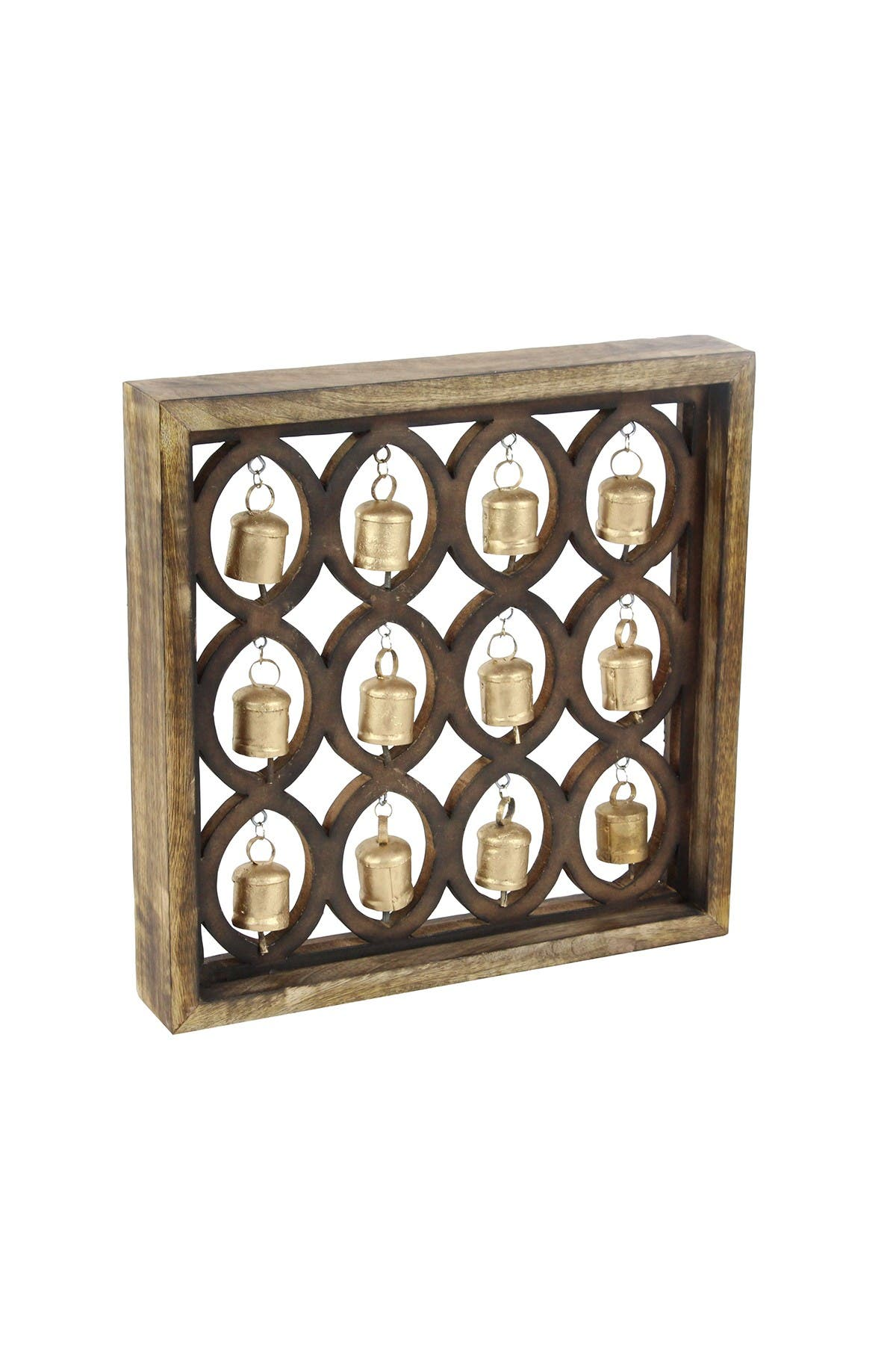 "Image of Willow Row Oval-Patterned 17"" x 17"" Wooden Wall Plaque With Metal Bells"