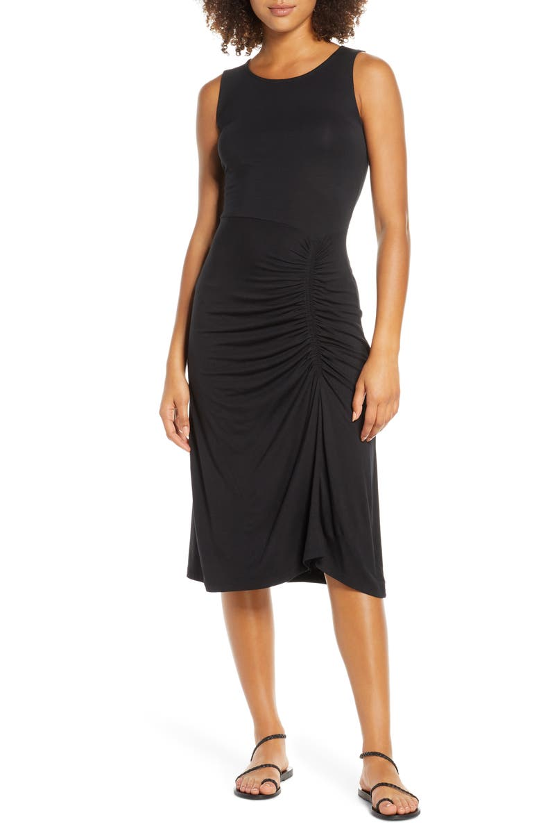 FRAICHE BY J Ruched Dress, Main, color, BLACK