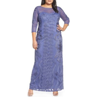 Plus Size Js Collections Soutache Trim Mesh Column Gown, Purple