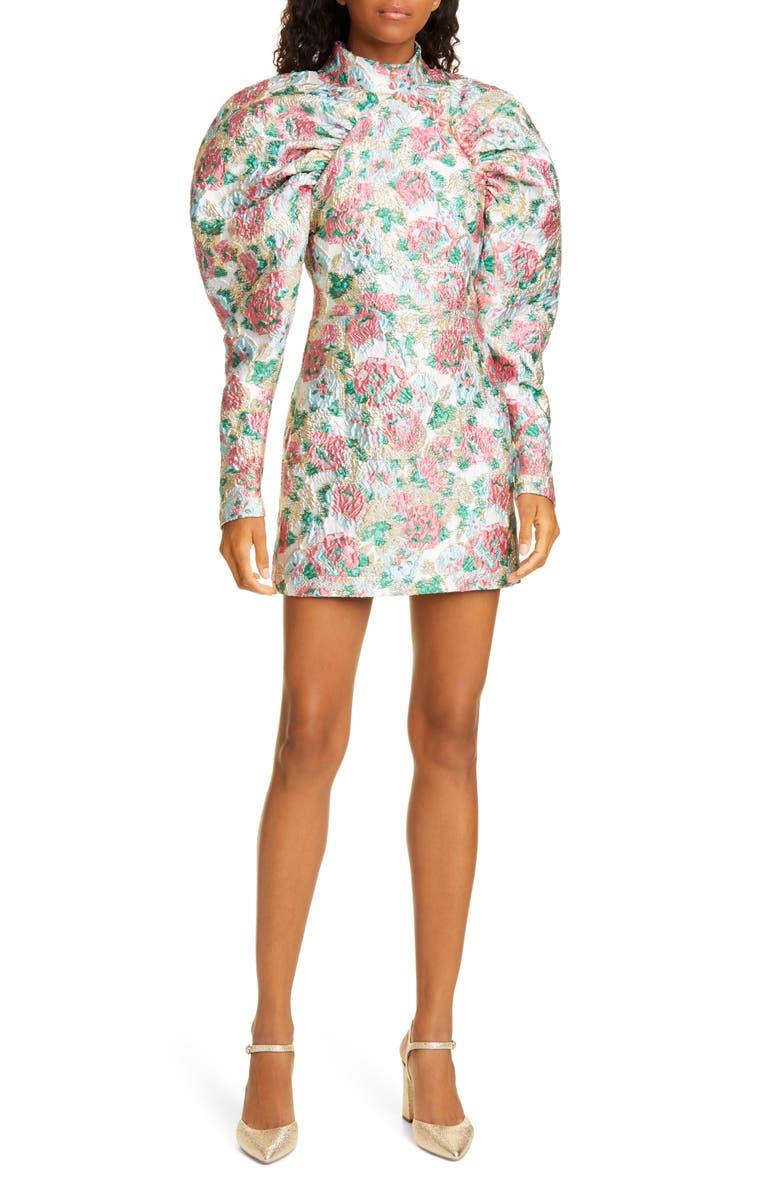 ROTATE Kim Floral Jacquard Long Puff Sleeve Minidress, Main, color, MORNING GLORY COMB. 151920