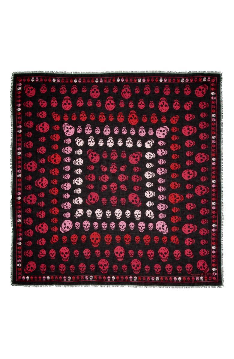 ALEXANDER MCQUEEN Multiskull Modal & Wool Shawl, Main, color, BLACK/ MAGENTA