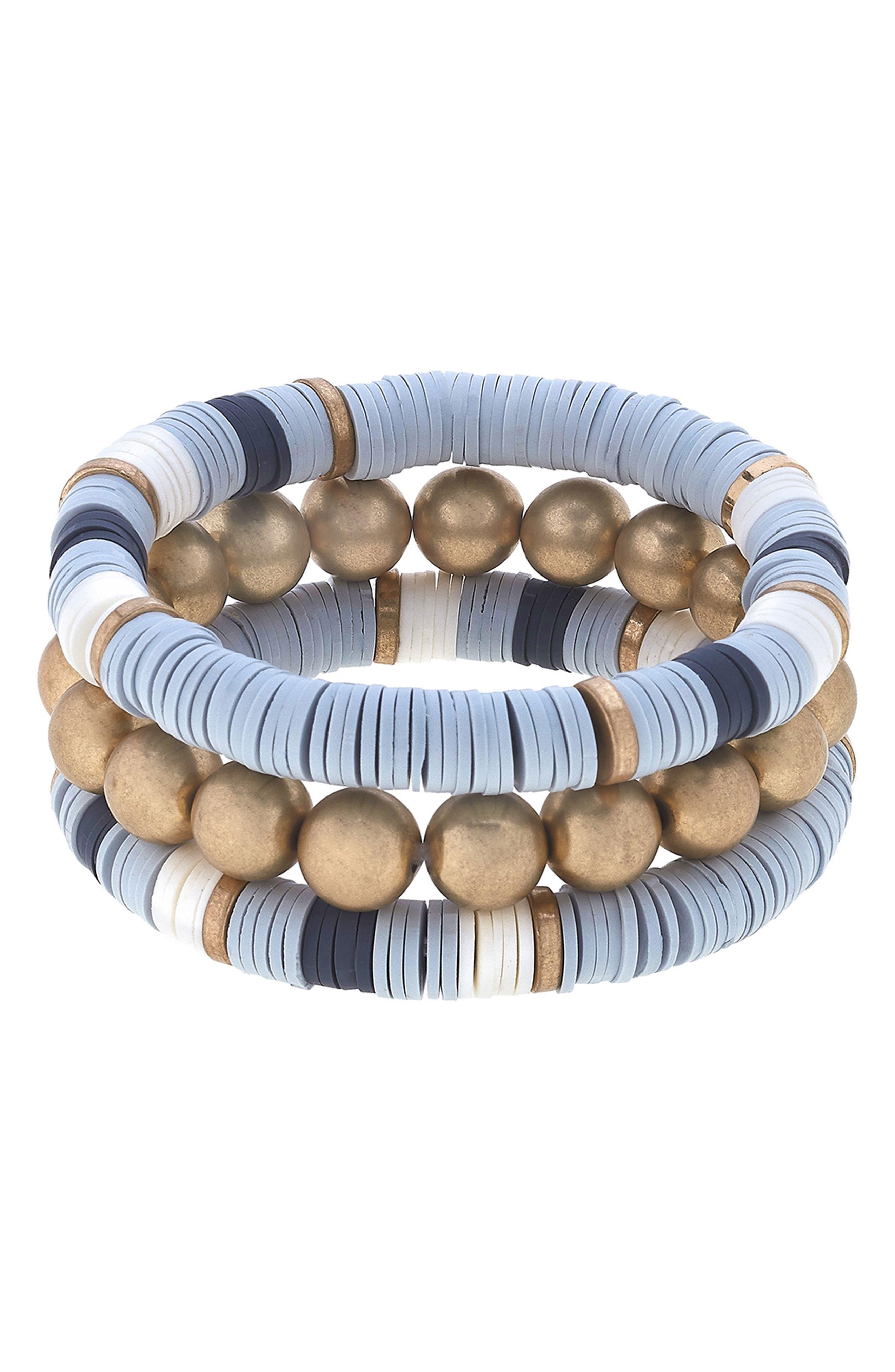 Emberly Set Of 3 Beaded Stretch Bracelets
