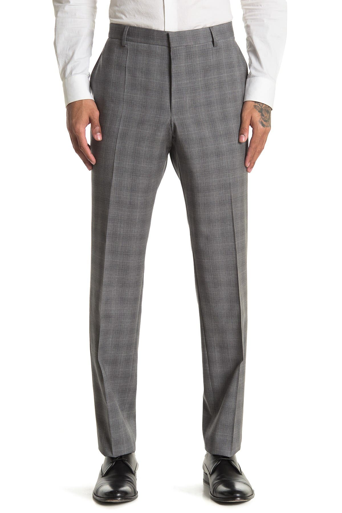 Image of BOSS Grey Plaid Wool Pants