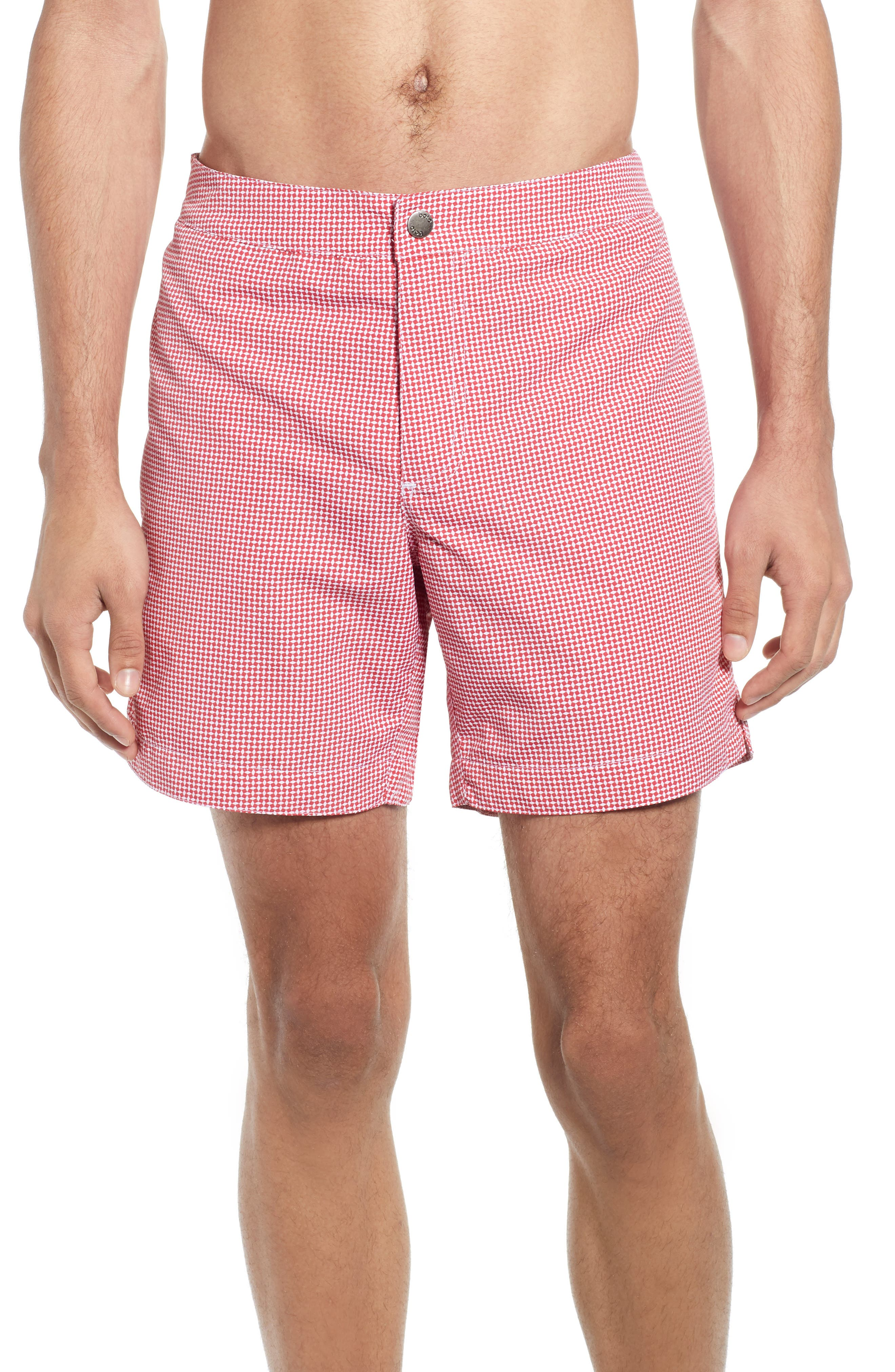 Vintage Men's Swimsuits – 1930s to 1970s History Mens Boto Aruba Slim Fit Diamond Swim Trunks Size 36 - Coral $79.00 AT vintagedancer.com