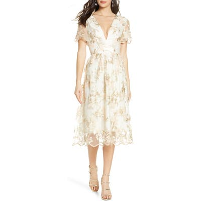 Chi Chi London Betty Lace Cocktail Dress, Beige