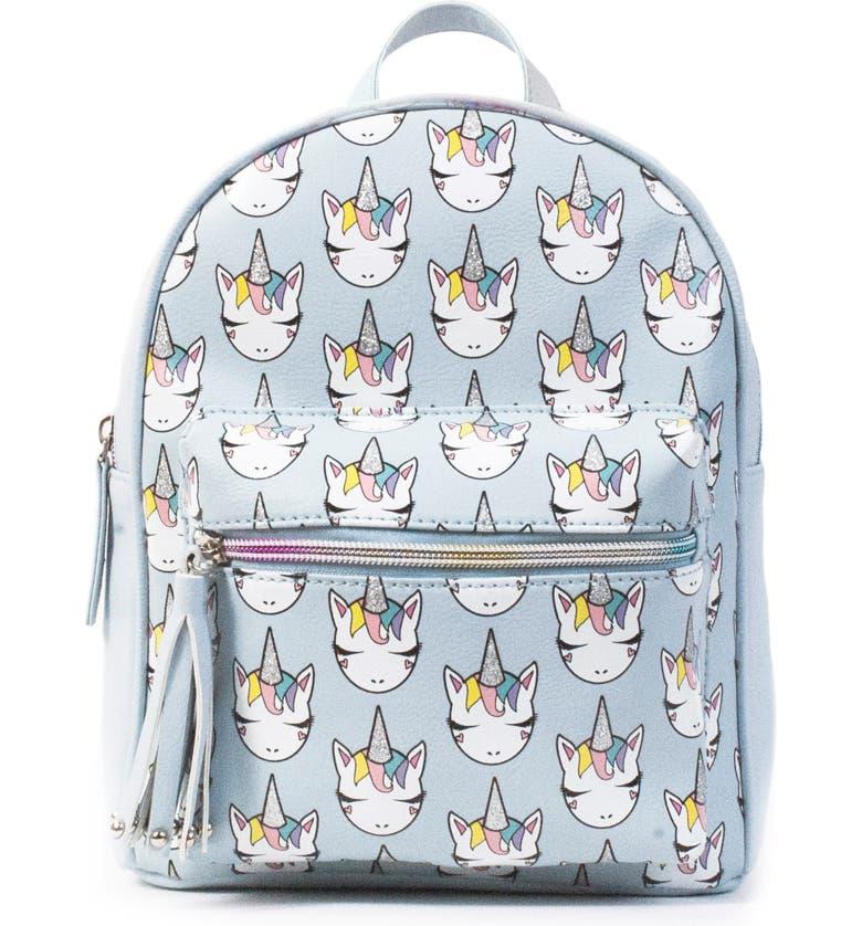 OMG Unicorn Print Mini Backpack, Main, color, BLUE