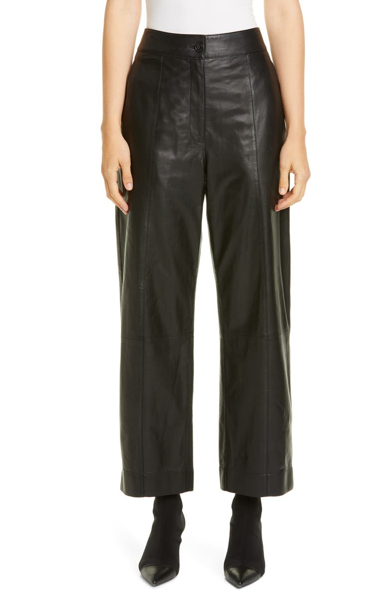 JASON WU Straight Leg Leather Pants, Main, color, BLACK