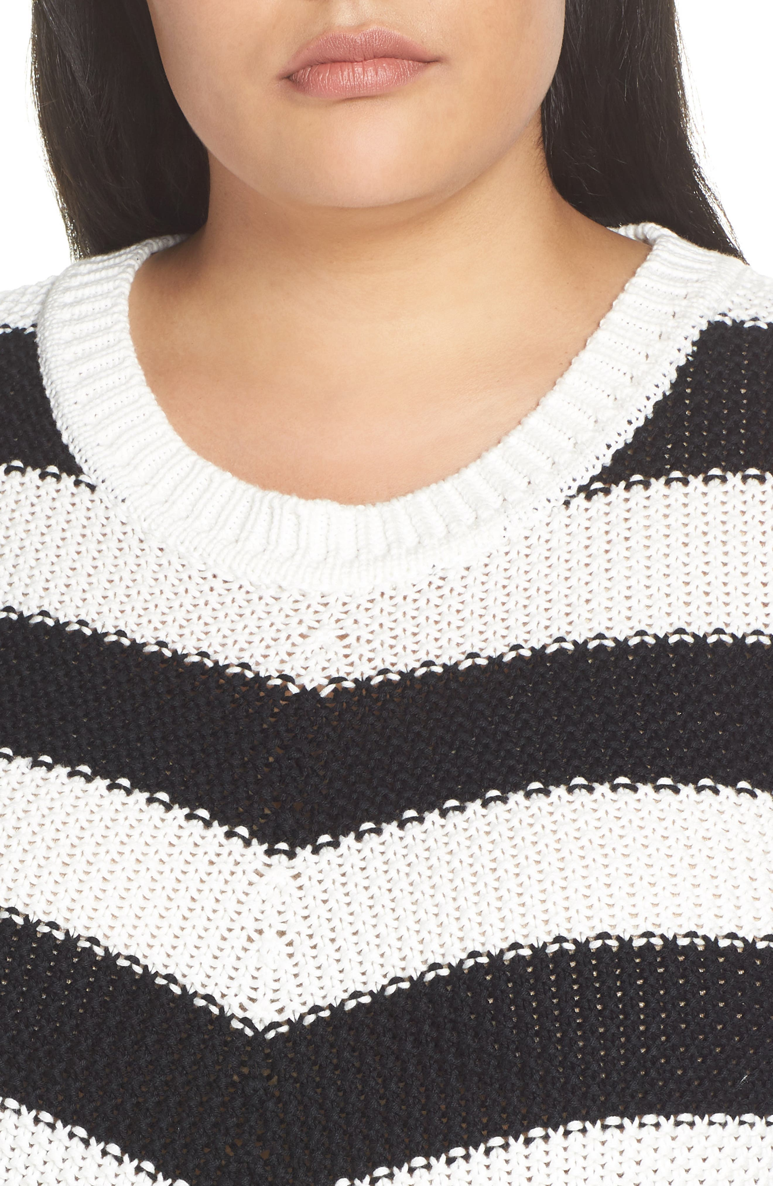 ,                             Stitch Stripe Sweater,                             Alternate thumbnail 4, color,                             001