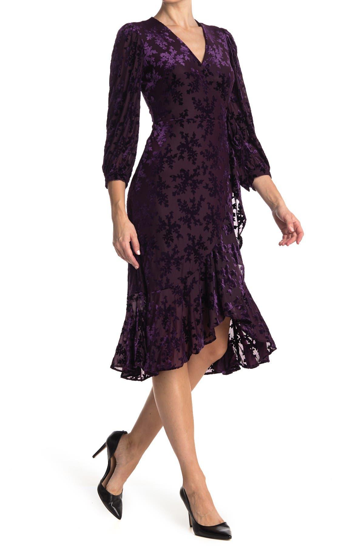 Image of Calvin Klein Velvet Burnout Surplus Dress