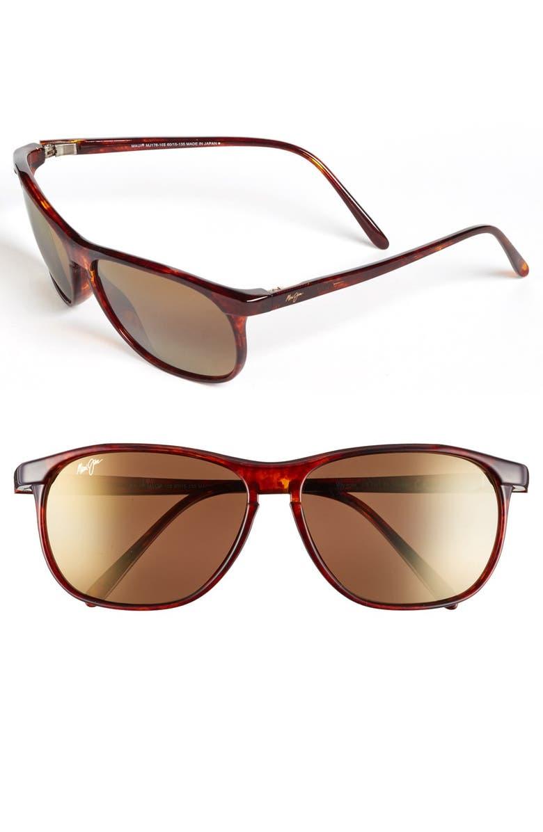 MAUI JIM 'Voyager - PolarizedPlus<sup>®</sup>2' 60mm Sunglasses, Main, color, TORTOISE