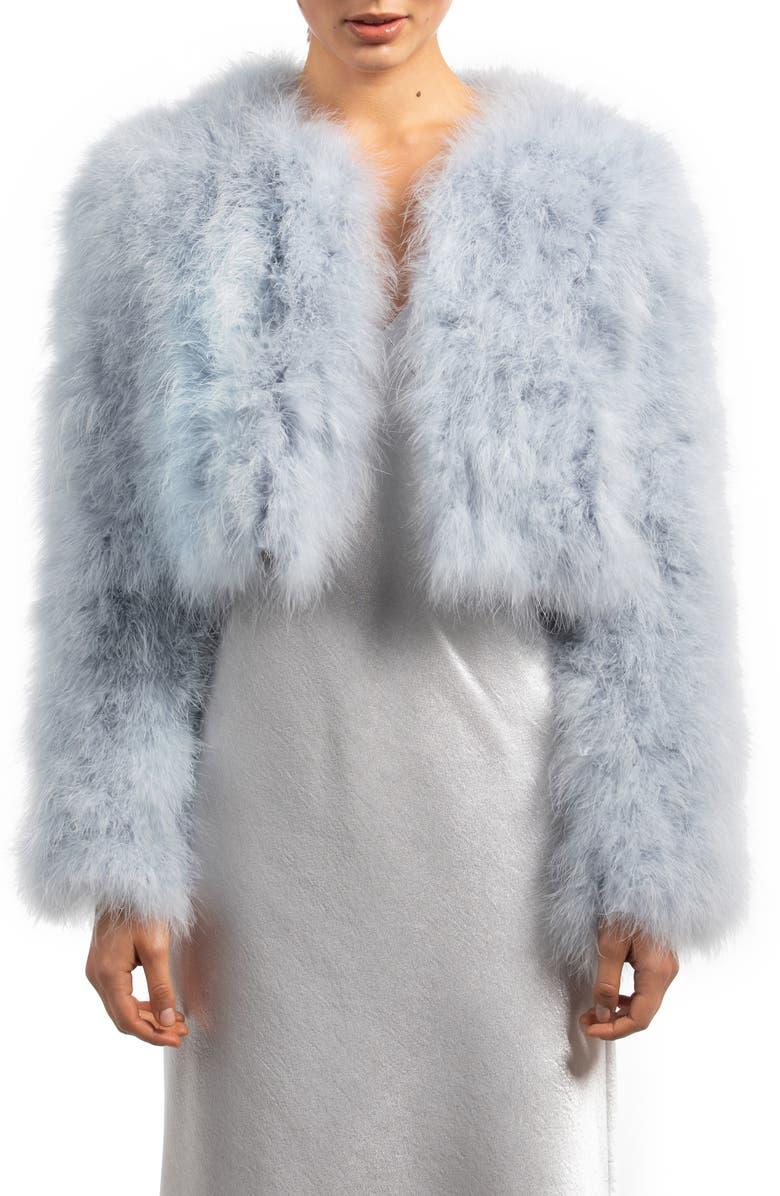 BÜBISH Manhattan Feather Jacket, Main, color, LIGHT BLUE