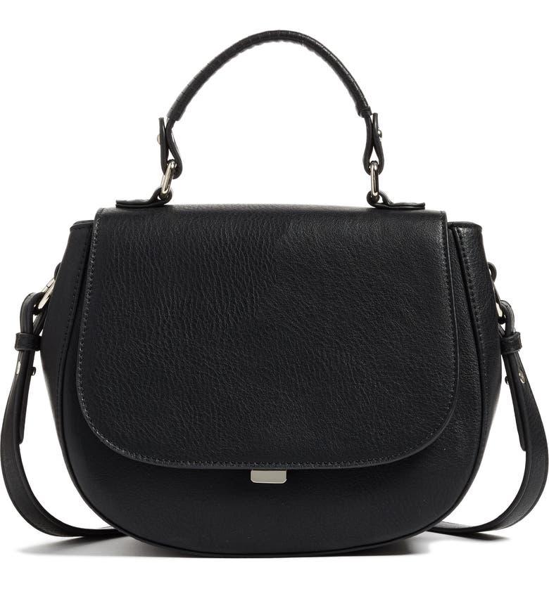 CHELSEA28 Kyle Faux Leather Saddle Bag, Main, color, 001