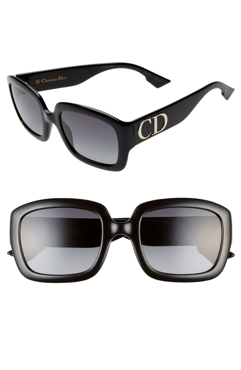 DIOR 54mm Gradient Square Sunglasses, Main, color, BLACK