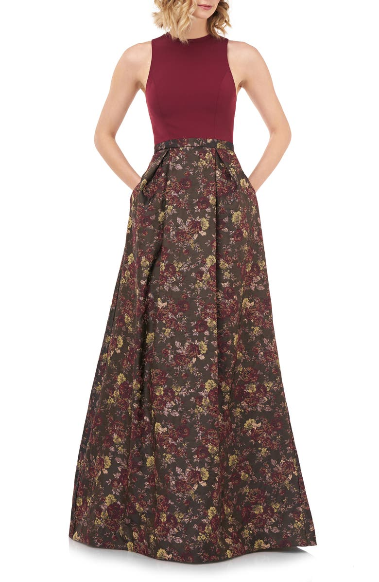 KAY UNGER Mikela Floral Ballgown, Main, color, BURGUNDY MULTI
