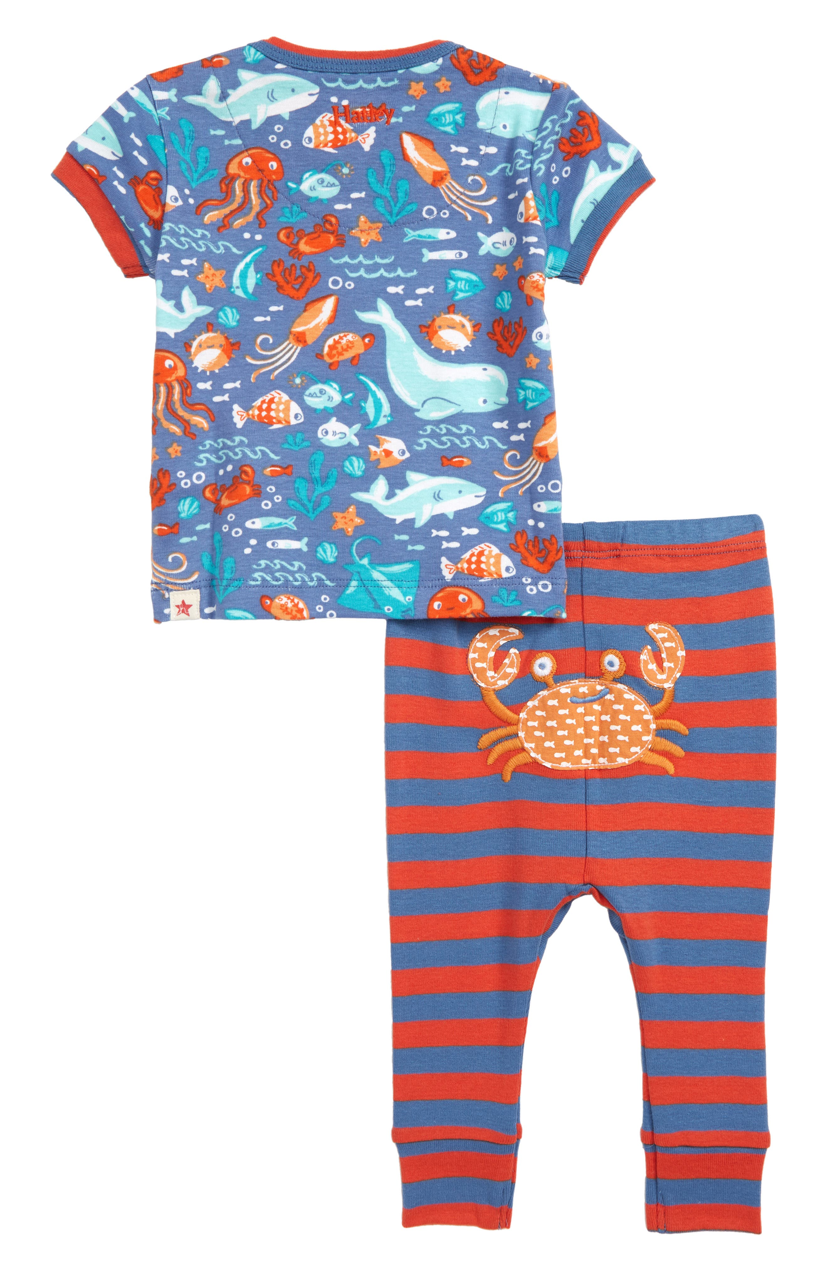 ,                             Ocean Friends Organic Cotton Fitted Two-Piece Pajamas,                             Alternate thumbnail 2, color,                             BLUE