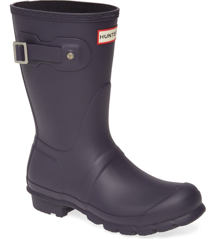 HUNTER Original Short Waterproof Rain Boot, Main, color, AUBERGINE